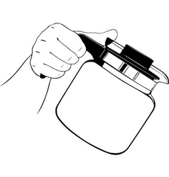Hand with teapot vector image