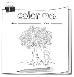 A worksheet with a money tree and a boy vector image vector image