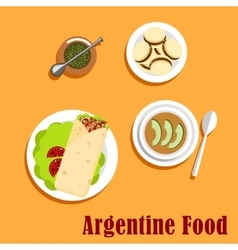 Argentine lunch and dessert food vector