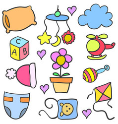 Baby set toys object doodles vector