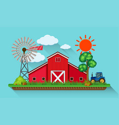 Big red barn and blue tractor vector