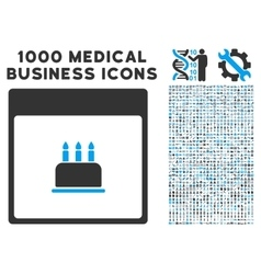 Birthday cake calendar page icon with 1000 medical vector