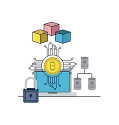 Bitcoin digital currency secure network desktop vector