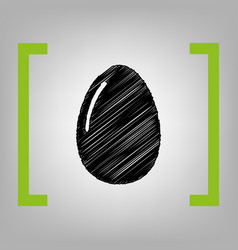 Chiken egg sign black scribble icon in vector