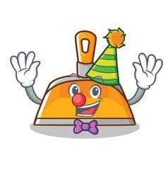Clown dustpan character cartoon style vector