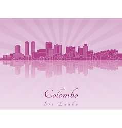 Colombo skyline in purple radiant orchid vector