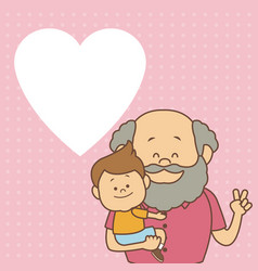 Color dotted background card with grandpa carrying vector