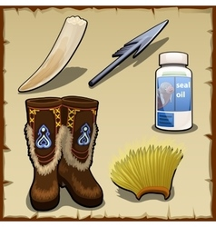 Eskimo set of tusk harpoon hat and seal fat vector