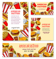 Fast food american restaurant banner template set vector