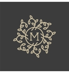 Floral monogram design template with letter M vector image vector image