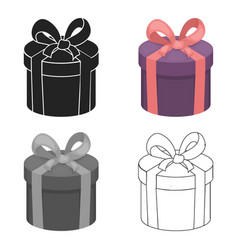 Gift box icon in cartoon style isolated on white vector