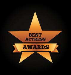 Gold star award best actress winner ribbon vector