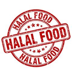 Halal food red grunge round vintage rubber stamp vector