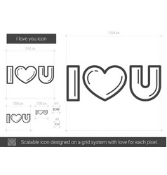 I love you line icon vector