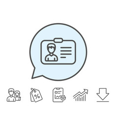 Id card line icon user profile sign vector