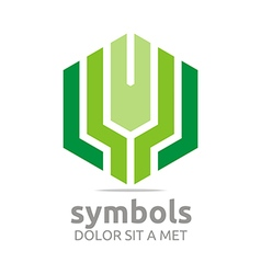 Logo design hexagon green zigzag icon symbol vector