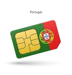 Portugal mobile phone sim card with flag vector