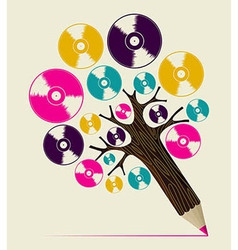 Retro music concept art tree vector image
