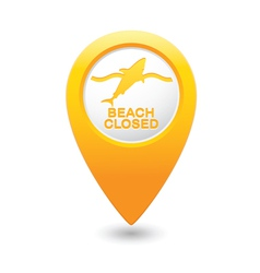shark icon yellow map pointer vector image