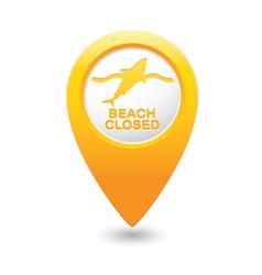 Shark icon yellow map pointer vector