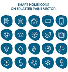 Smart home icons on blue splatter paint flat icons vector