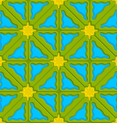 Triangle wavy green yellow and blue embossed vector image