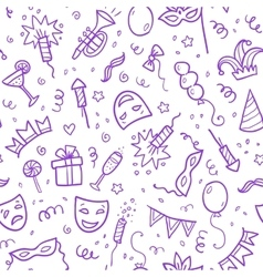 Violet carnival symbols in doodle style on white vector image vector image