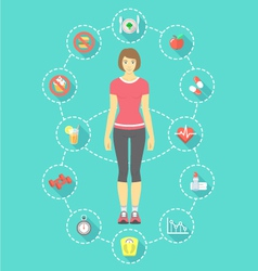 Woman fitness infographics vector