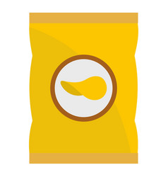 yellow pouch of potato chips icon isolated vector image