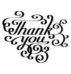 Thank you lettering hand-drawn composition vector