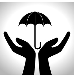 hands human protection silhouette vector image