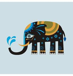 Black decorated elephant vector