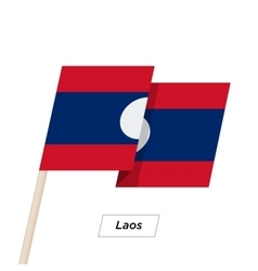 Laos ribbon waving flag isolated on white vector