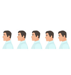 Male profile avatar expressions set man facial vector