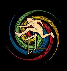 hurdler hurdling sport running graphic vector image