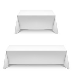Two white rectangular with table tablecloth on vector