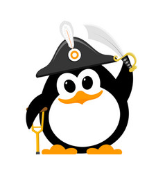 Abstract cute penguin in a pirate costume on a vector