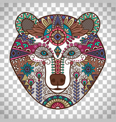 Colorful bear head on transparent background vector