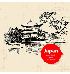 Hand drawn japanese sketch background vector