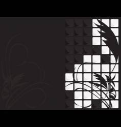 Black white floral tile background vector