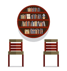 Chairs with round bookshelf on wall vector