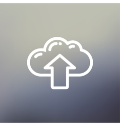 Cloud with arrow up thin line icon vector