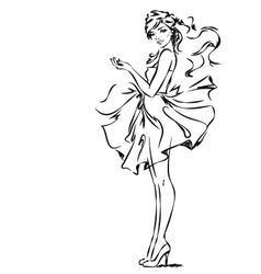 Girl in dress vector