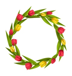 Circle frame with tulips red and yellow flowers vector