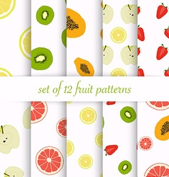 Set of seamless fruit patterns vector