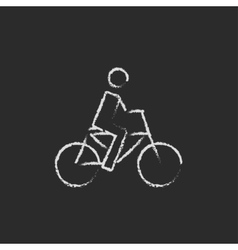Bike and cyclist icon drawn in chalk vector