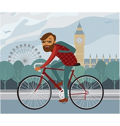 Young man hipster riding bike in london vector