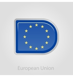 European union flag button vector