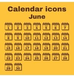 The calendar icon June symbol Flat vector image