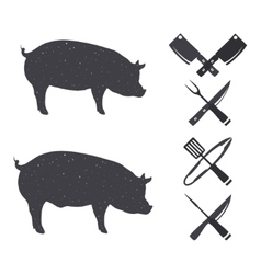 Black silhouettes of a pig and a hog vector